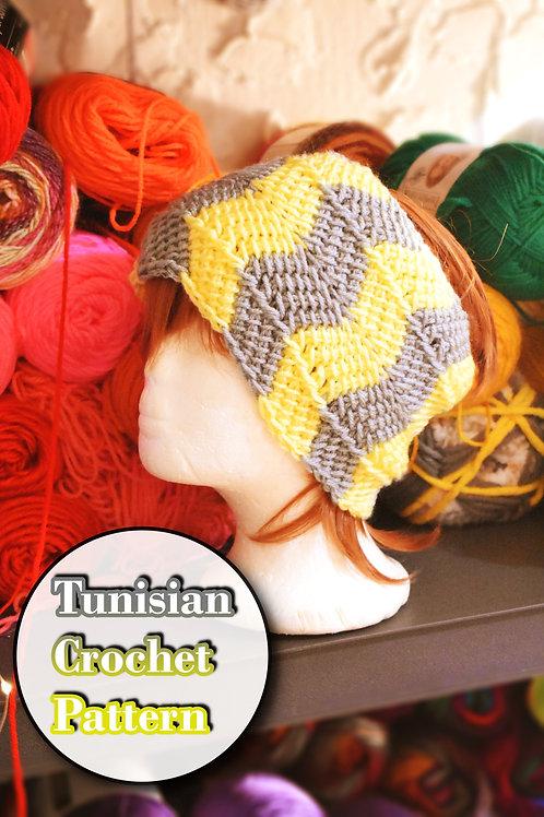 Tunisian Crochet Ripple Ear Warmer Pattern