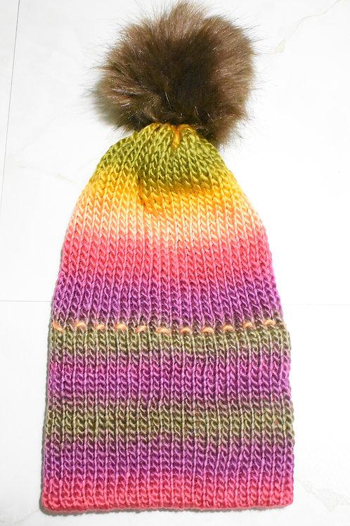 Knitted Fur Pom Beanie