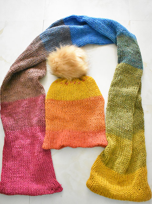 Knitted Winter Scarf and Hat Set