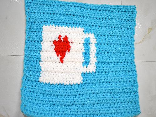 Ko-fi Button Crochet Patch Pattern
