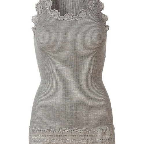 Rosemunde Silk Top 5315 light grey melange