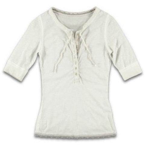 Damen T-Shirt Button Fly Lace Moon