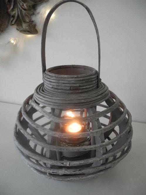 Windlicht Holz grau mit Glaseinsatz