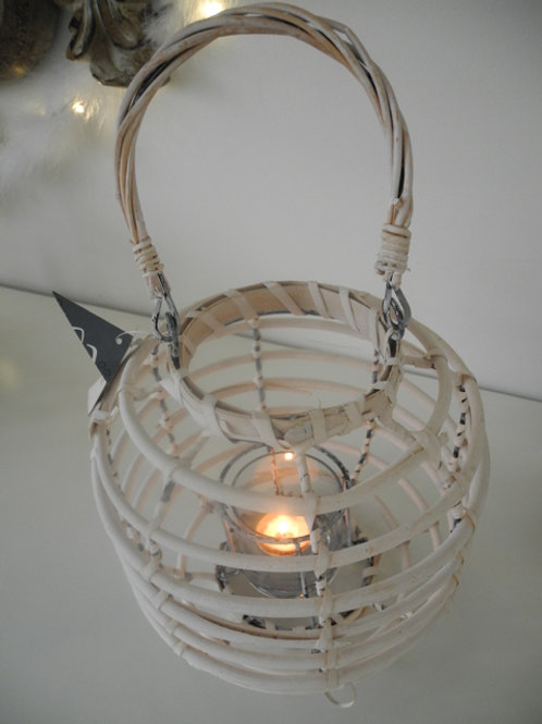 Windlicht geflochten weiss mit Glaseinsatz