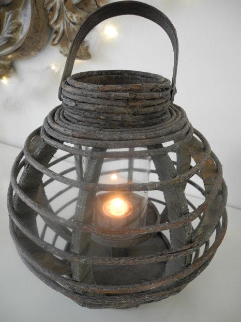 Windlicht Holz dunkelbraun mit Glaseinsatz