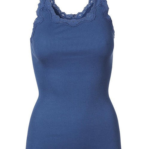Rosemunde Silk top regular w/rev vintage lace 5357 Saphire Blue