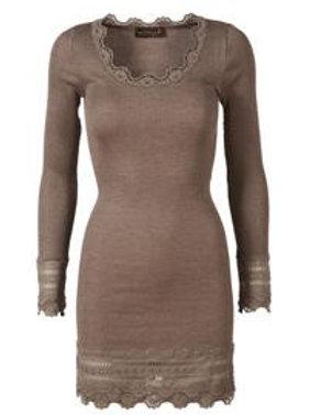 Rosemunde Silk t-shirt wide lace - mid thigh 5484 brown melange