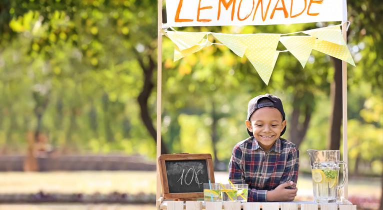 Little African-American boy at lemonade
