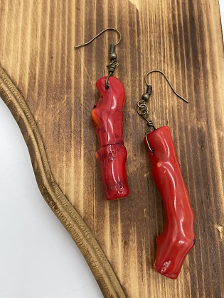 Red Coral Stone Dangles