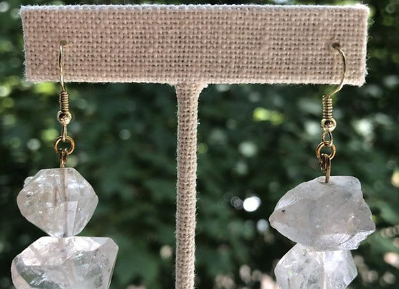 Double Terminated Quartz Dangle Gold Earrings