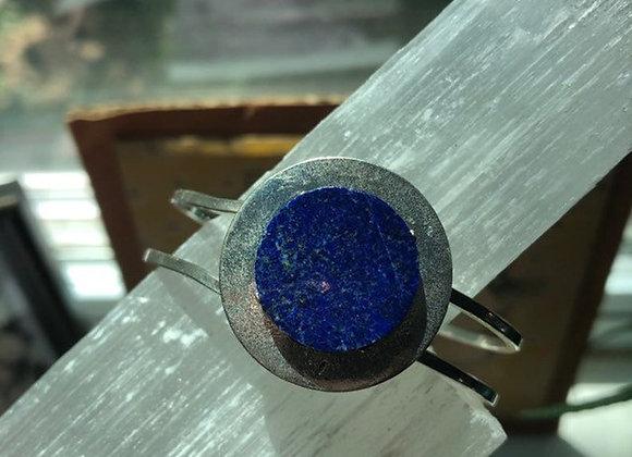 Lapis Lazuli Cabahon Silver Cuff Bracelet