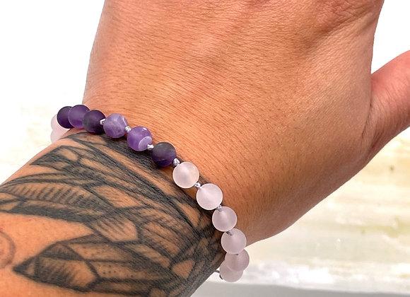 Amethyst Rose Quartz Mala Bracelet