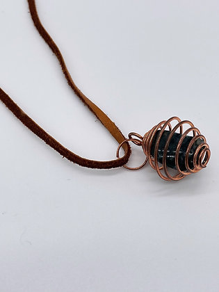 Moss Agate Caged Pendant