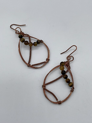 Tigers Eye Copper Earrings