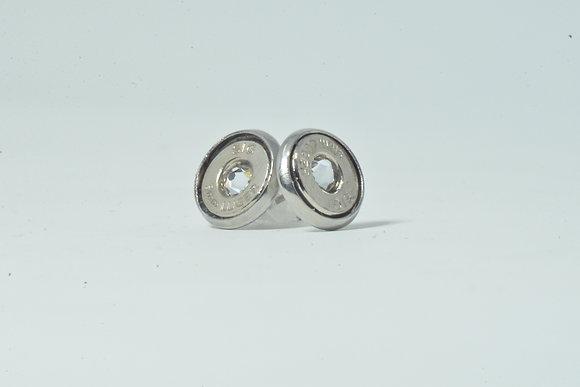 Bullet Casing Earrings 9mm Silver