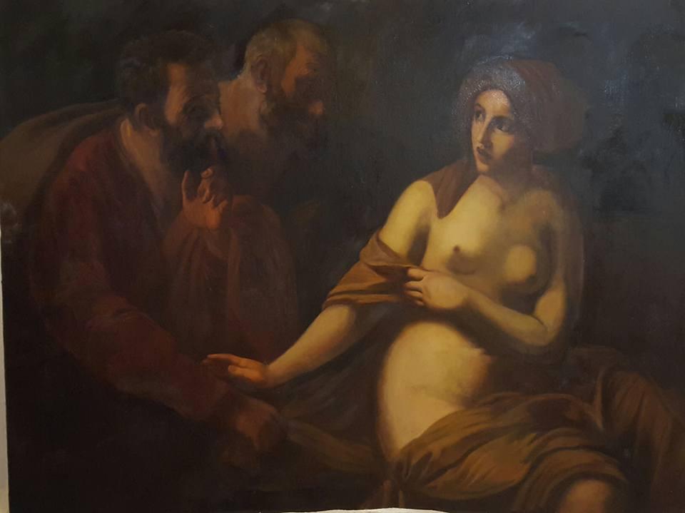 restauration peinture du 19ème Suzanne e