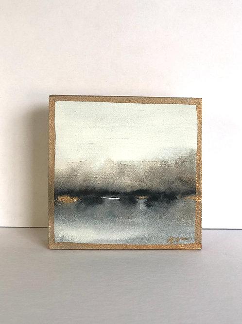 """4x4"""" Wooden Watercolor Landscape #4"""