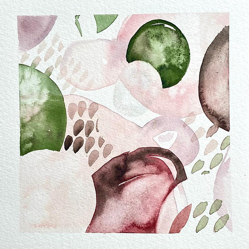 """Pink and Green Collision  (8x8"""")"""