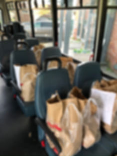 TAG van filled with groceries