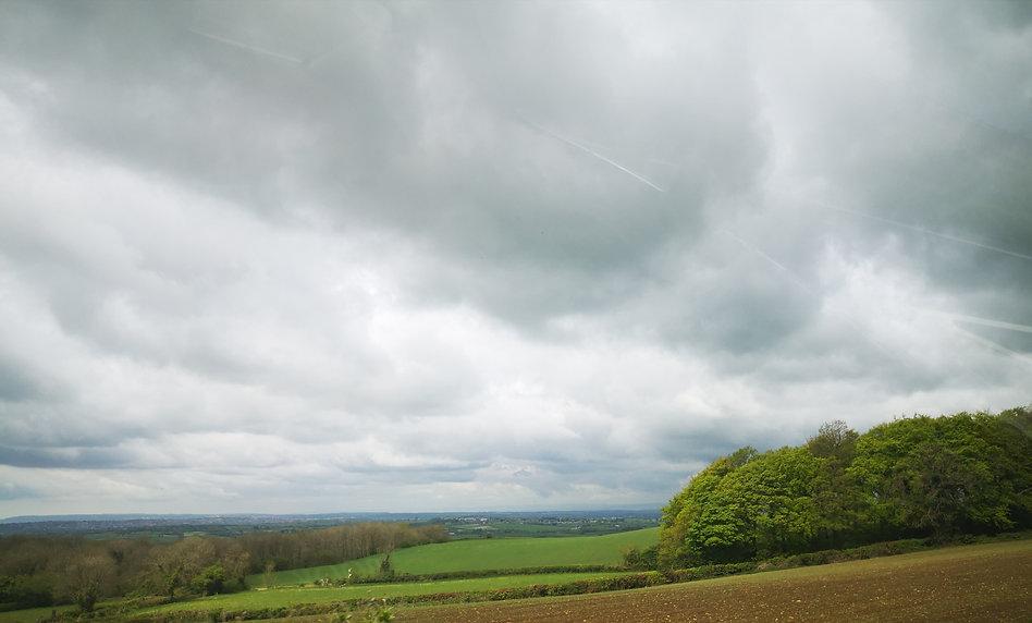 Field in Somerset cloudy sky
