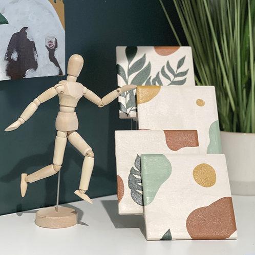 BARE Vibes Ceramic Tile Coaster Set