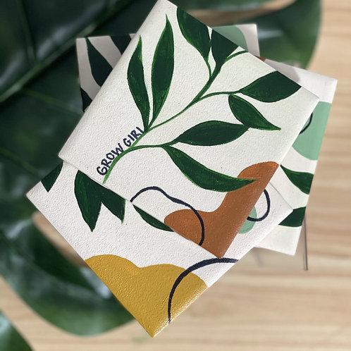 Grow Girl Ceramic Tile Coaster Set
