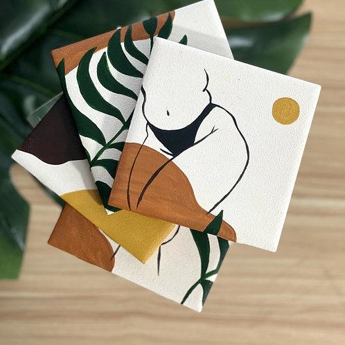 Nude Ceramic Tile Coaster Set