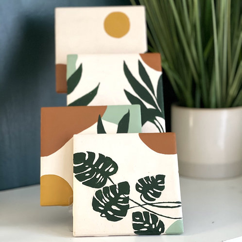 Monstera Momma Ceramic Tile Coaster Set