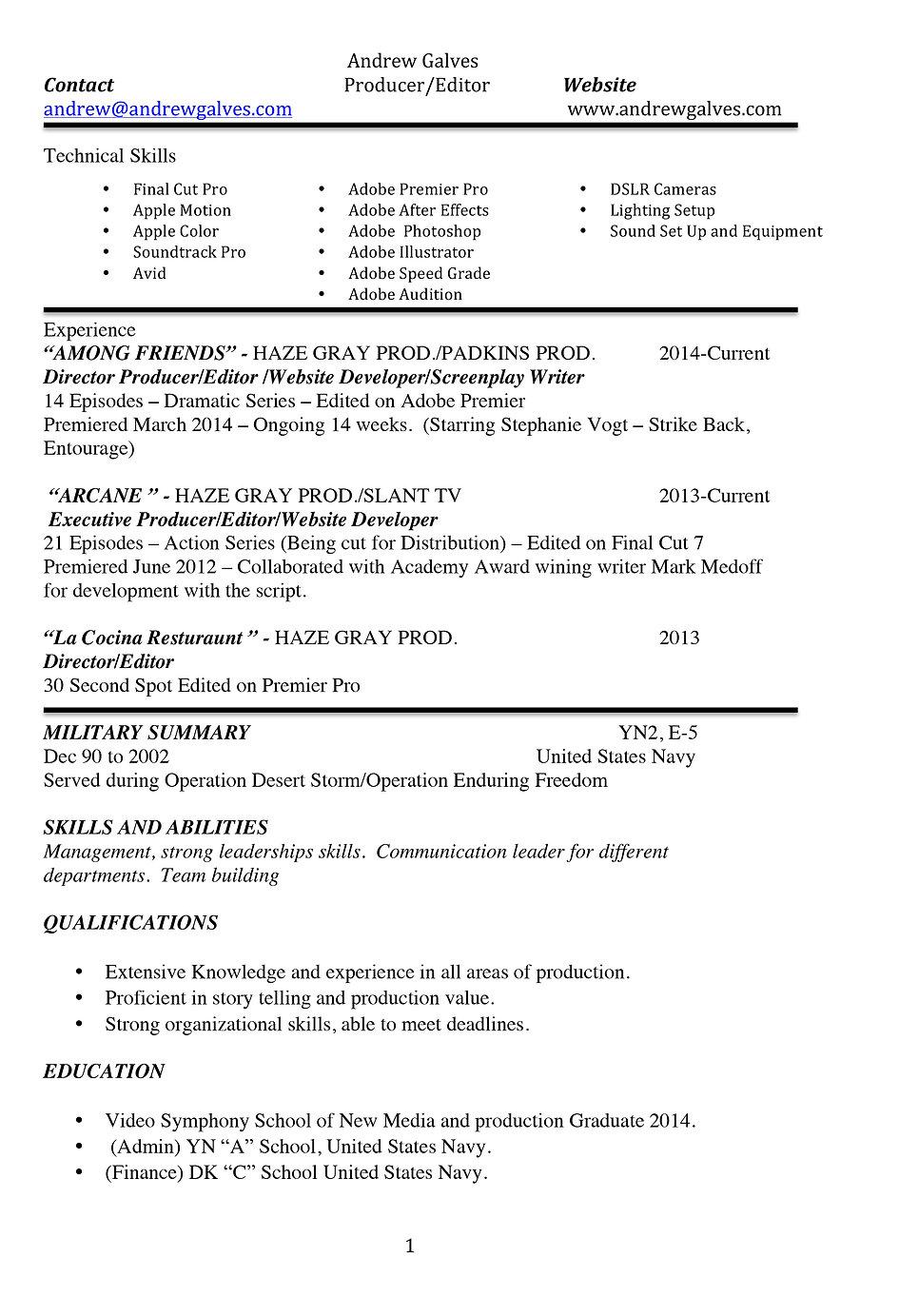 Haze Gray Productions Resume
