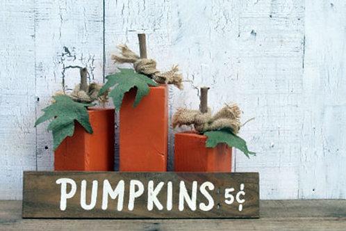 Rustic Wood Pumpkin Set Fall Farmhouse Home Decor