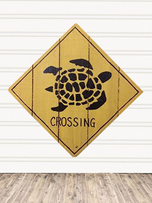 Turtle Crossing Wood Sign