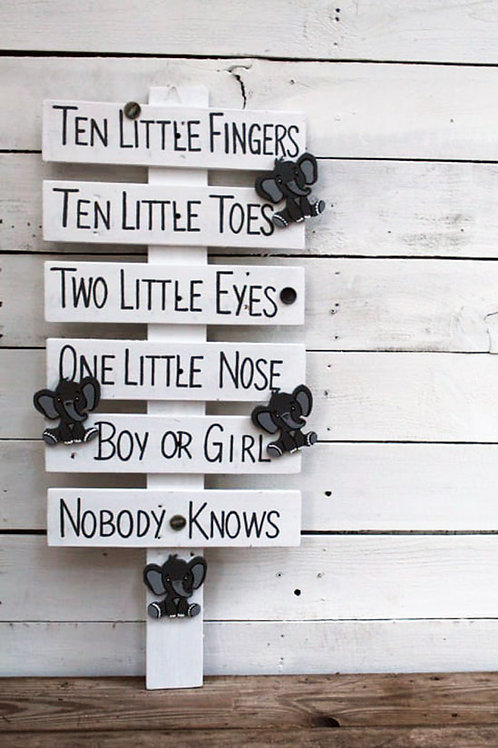 Ten Little Fingers Ten Little Toes Wood Sign for Gender Reveal Party with Cutout