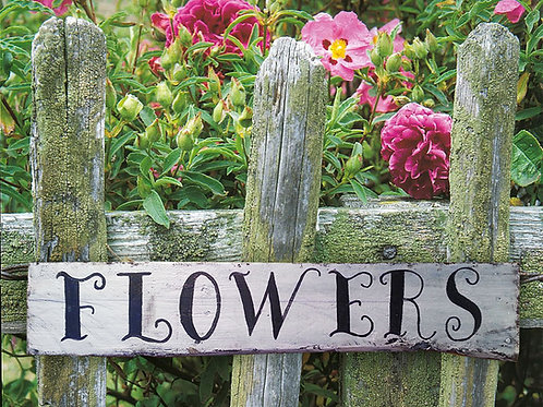 Flowers Wood Sign