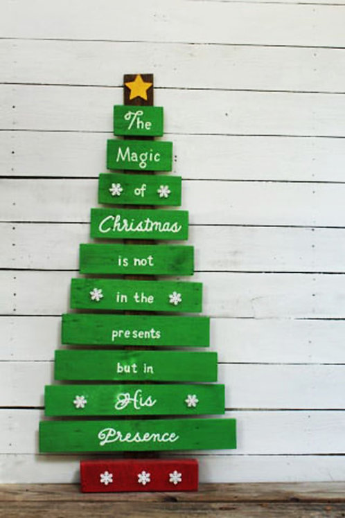 The Magic Of Christmas Is Not In The Presents But In His Presence Wood Sign