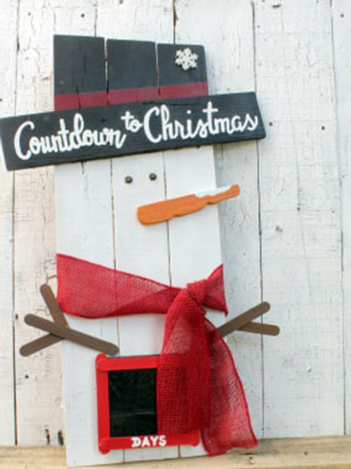 Snowman Advent Calendar Countdown to Christmas Wood Sign