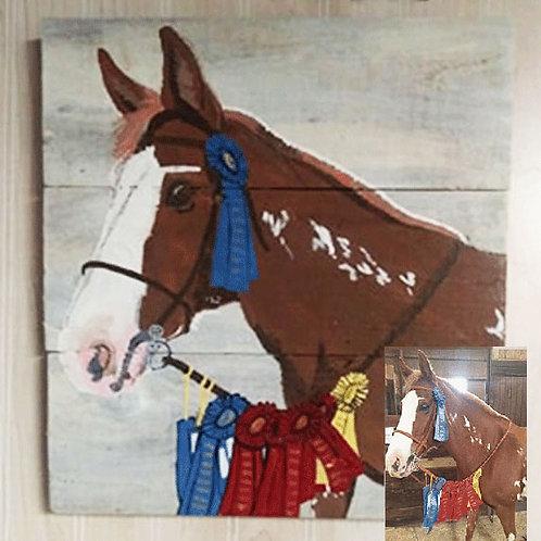 Horse Portrait Wood Sign