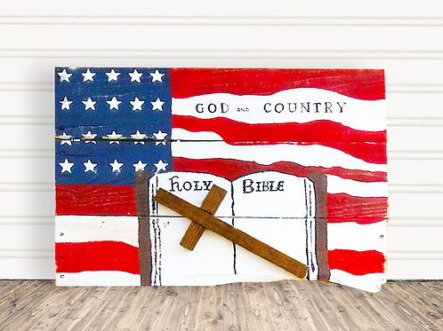 God and Country American Flag Wood Sign