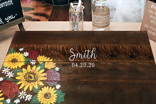 Sunflower and Roses Wedding Guest Book Alternative Wood Sign