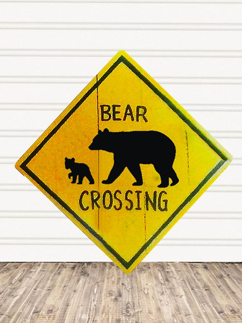 Momma Bear Crossing Wood Sign