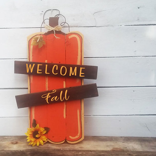 Welcome Fall Pumpkin Wood Signs