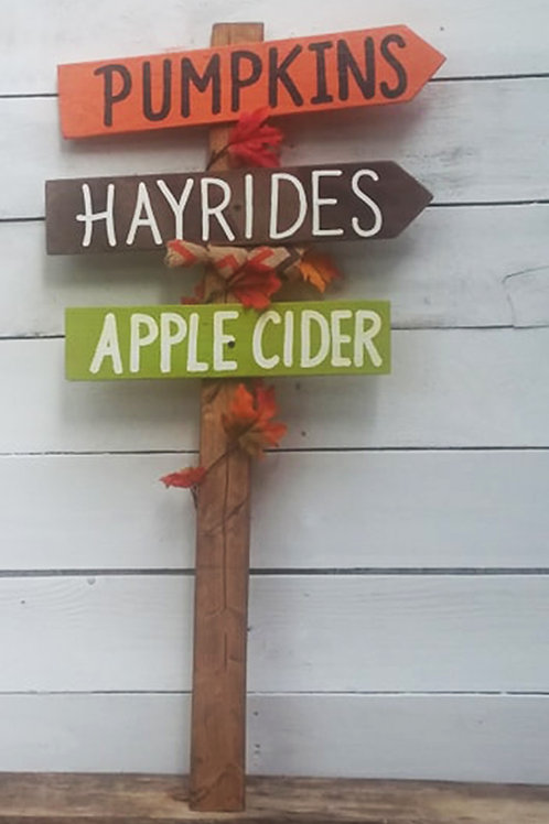Fall Directional Wood Sign With Stake