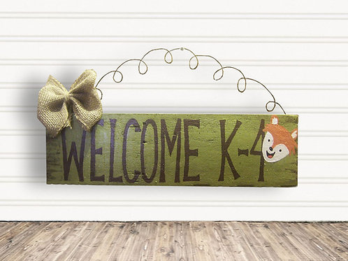 Woodlands Welcome Classroom Wood Sign