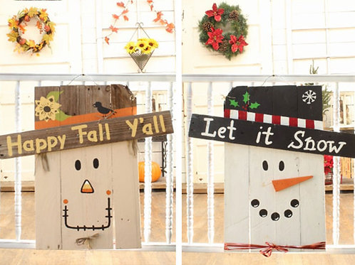 Happy Fall Y'all 2 Sided Scarecrow Snowman Wood Sign