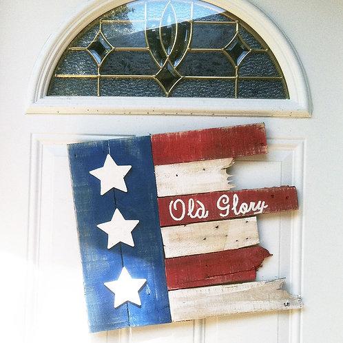 Old Glory American Flag Wood Sign