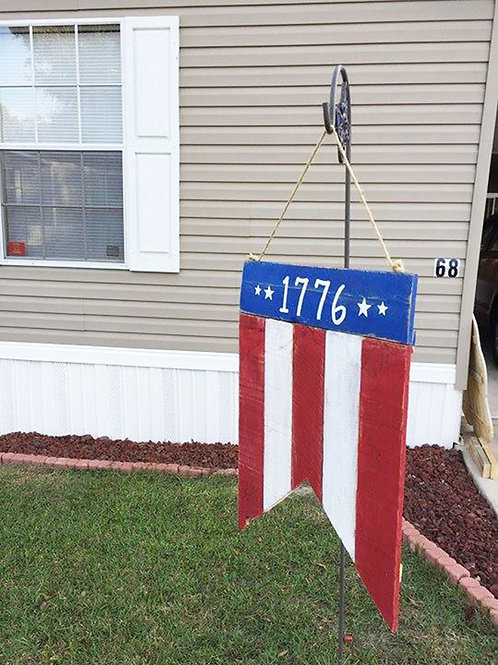 1776 American Flag Wood Sign