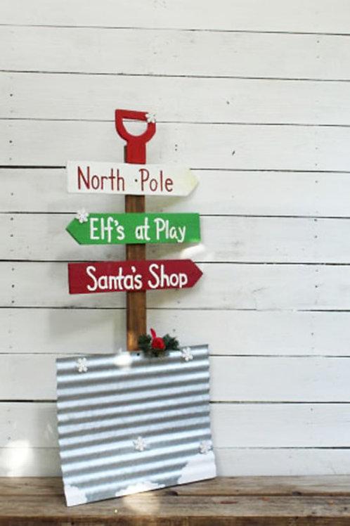 Christmas Snow Shovel Directional Wood Signs