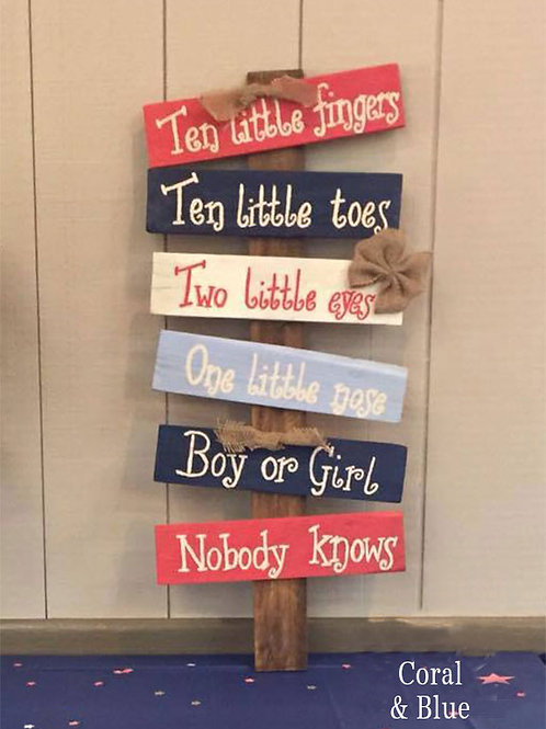 Ten Little Fingers Ten Little Toes Wood Sign For Gender Reveal Party