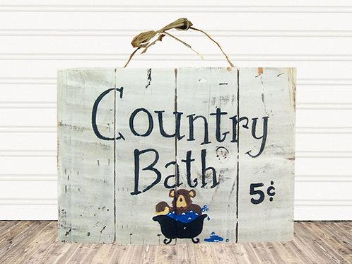 Country Bath Bear Wood Sign