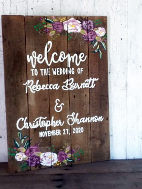 Welcome To The Wedding Of Wood Sign