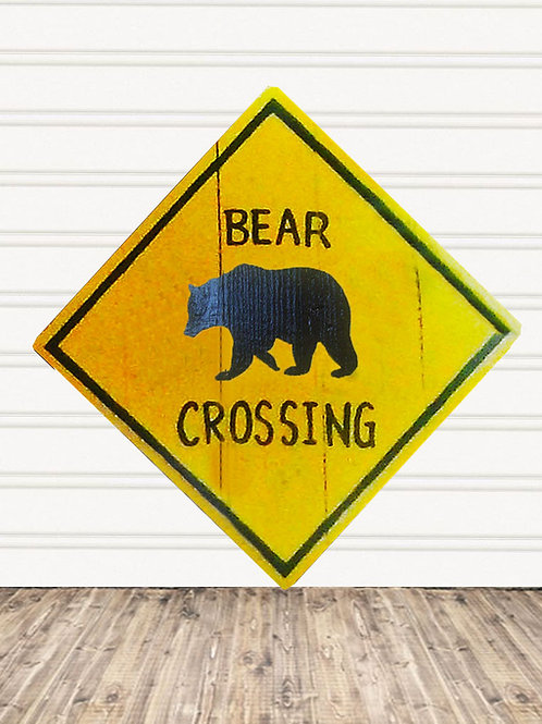 Bear Crossing Wood Sign
